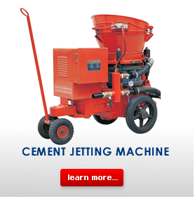 cement jetting machine in operation
